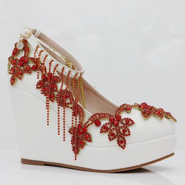 Fashion Rhinestone Wedding Wedges - Jance Samantha Beauty & Fashion