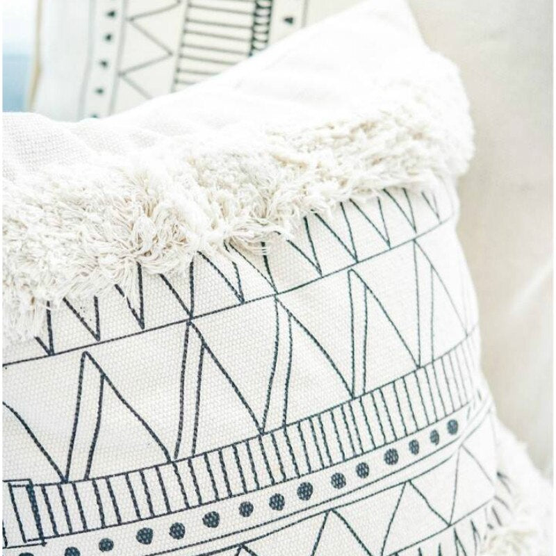 Nordic Geometric White Black Lines Tassels Modern Decor - Jance Samantha Beauty & Fashion