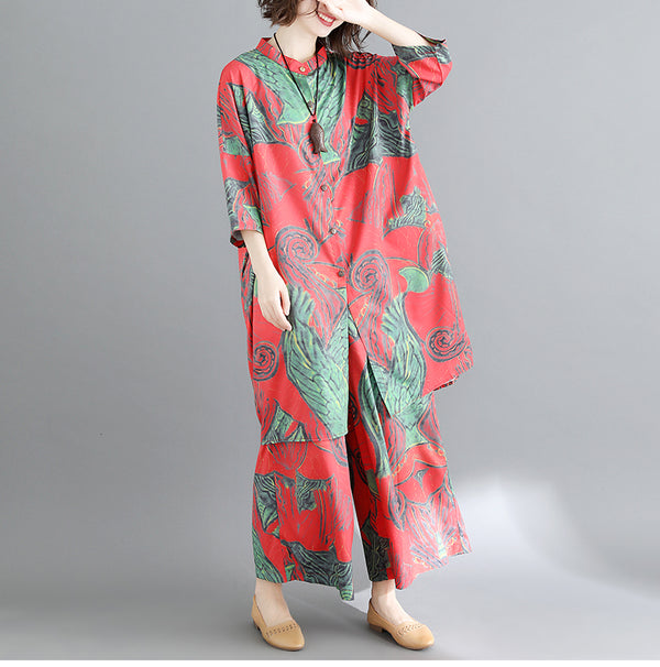 Chinese Style Print Wide Leg Pants Casual Fashion Oversized Set - Jance Samantha Beauty & Fashion