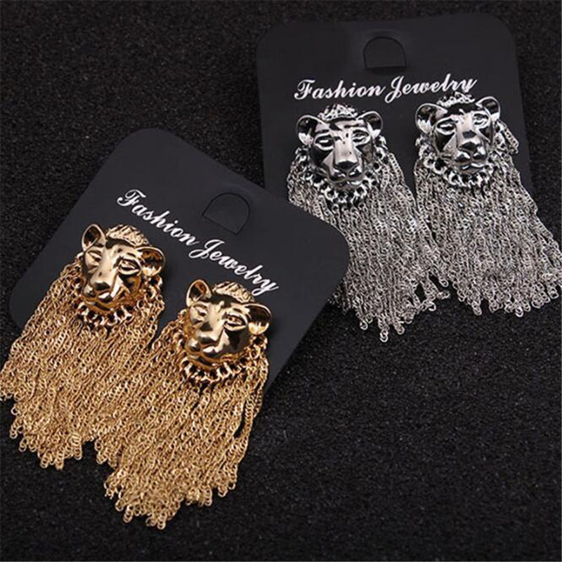 Lion Head Tassel Personality Earrings - Jance Samantha Beauty & Fashion