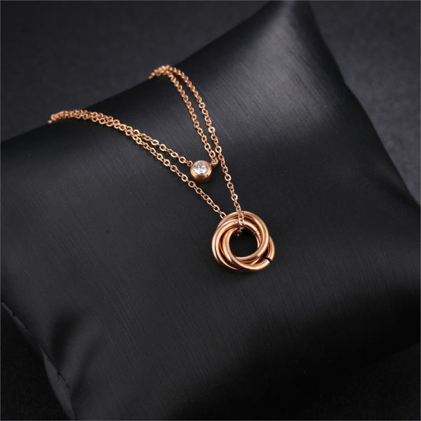 Rose Gold Color Cubic Zirconia Charm Three Circles Pendant Necklace - Jance Samantha Beauty & Fashion