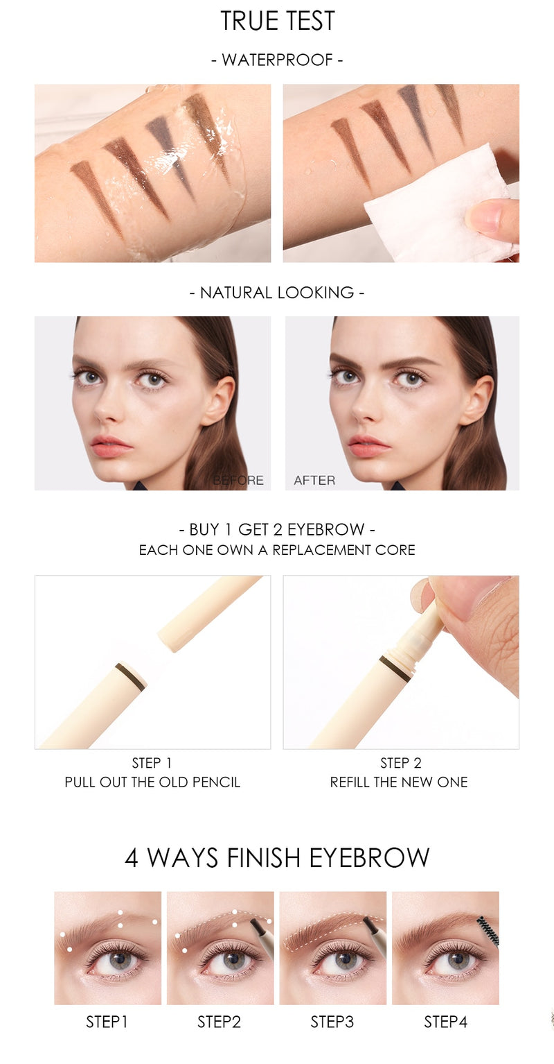 Artist Sketch Eyebrow Pencil Waterproof Natural Long Lasting Tint 4 Color Brows - Jance Samantha Beauty & Fashion