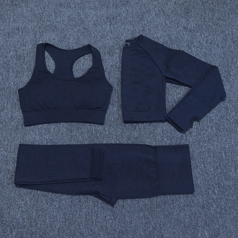 Seamless Yoga Set Long Sleeve Crop Top - Jance Samantha Beauty & Fashion