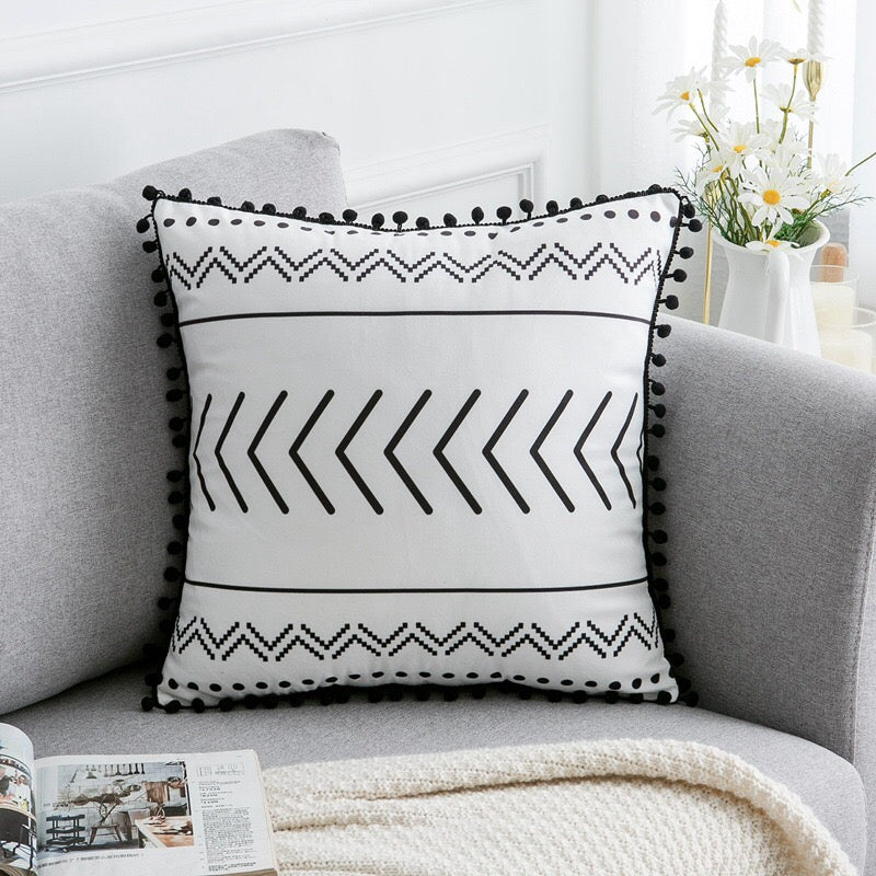 Geometric Pom Pom Ball Fringe Cushion Cover - Jance Samantha Beauty & Fashion