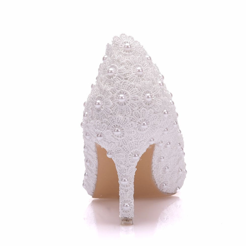 Lace White Flowers Pearl Bridal Shoes Low Heel - Jance Samantha Beauty & Fashion