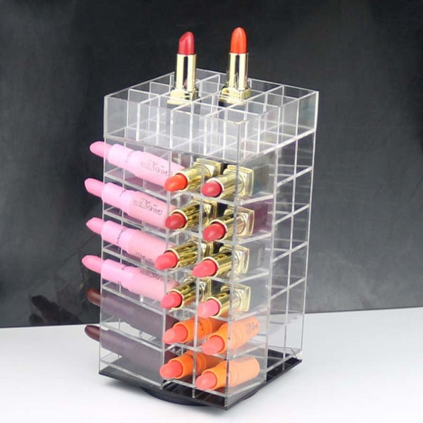 64 Lattices Acrylic 360 Degree Rotated Rack Lipstick Tower Organizer - Jance Samantha Beauty & Fashion
