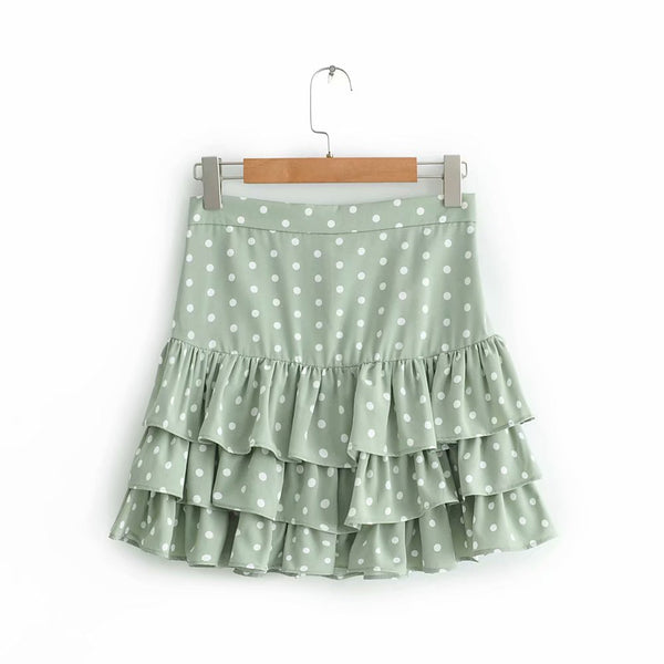 Polka Dot Print Mini Summer Fashion Pleated Ruffles Skirts - Jance Samantha Beauty & Fashion