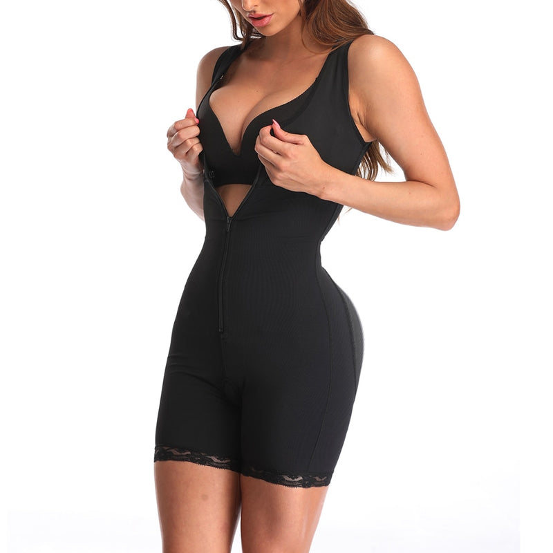 Crotchless Slimming Bodysuit with Zipper Powernet Thigh Slimmer - Jance Samantha Beauty & Fashion