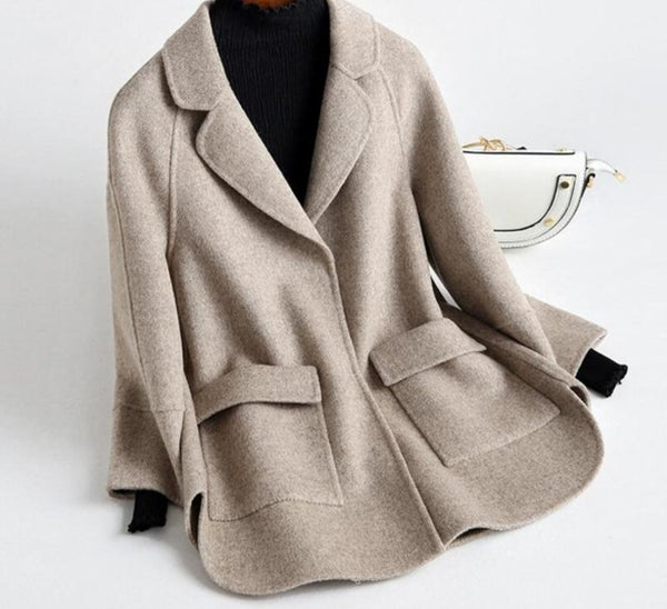 Soft Cashmere Basic Wool Blend Overcoat - Jance Samantha Beauty & Fashion