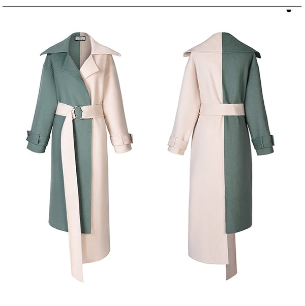Wool Coat Waist Belt Asymmetry Overcoat - Jance Samantha Beauty & Fashion