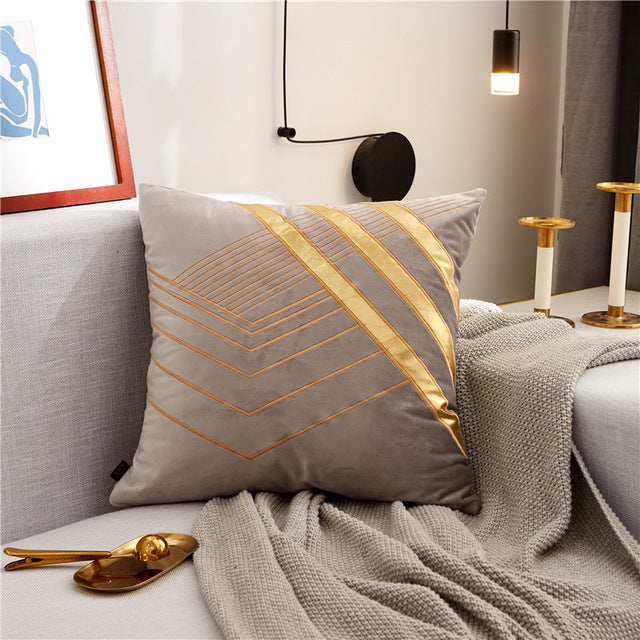 Luxury Velvet Cushion Cover Soft Nordic Style Gold Embroidered - Jance Samantha Beauty & Fashion