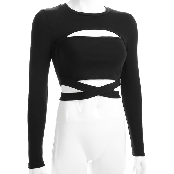 Cotton Streetwear Black Cut Out  Tie Up Cropped Shirts - Jance Samantha Beauty & Fashion