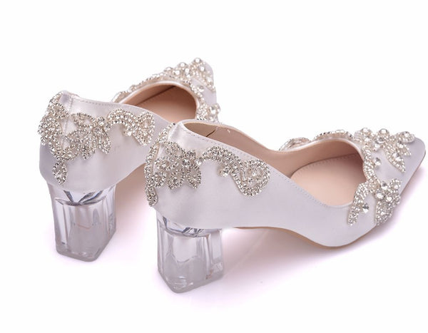 Crystal Pumps Luxury Satin Silk Square Heel Wedding Shoes - Jance Samantha Beauty & Fashion