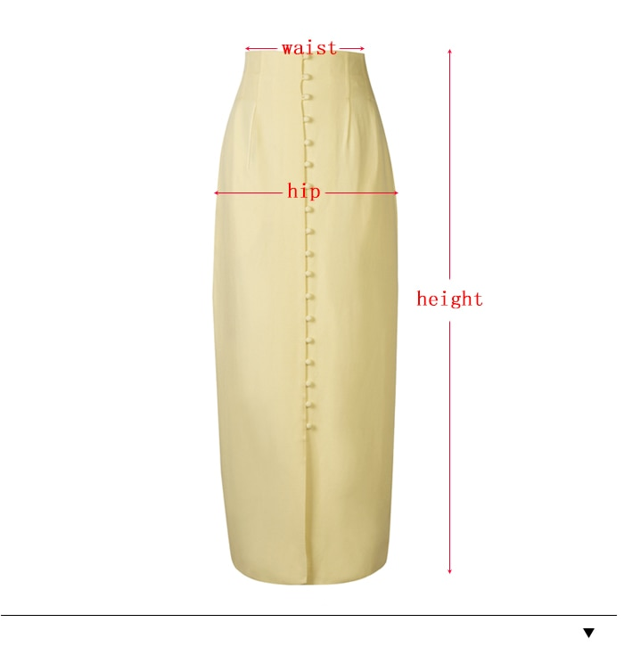 High Waist Button Bodycon Maxi Yellow Long Skirts - Jance Samantha Beauty & Fashion