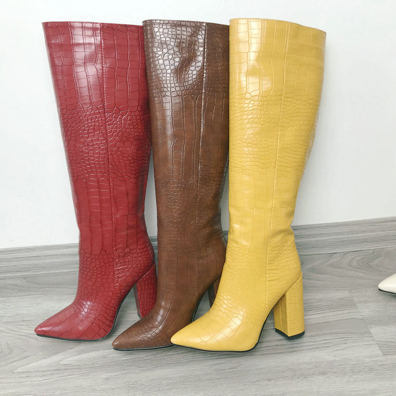 Faux Leather Women Block Heel Knee High Boots - Jance Samantha Beauty & Fashion