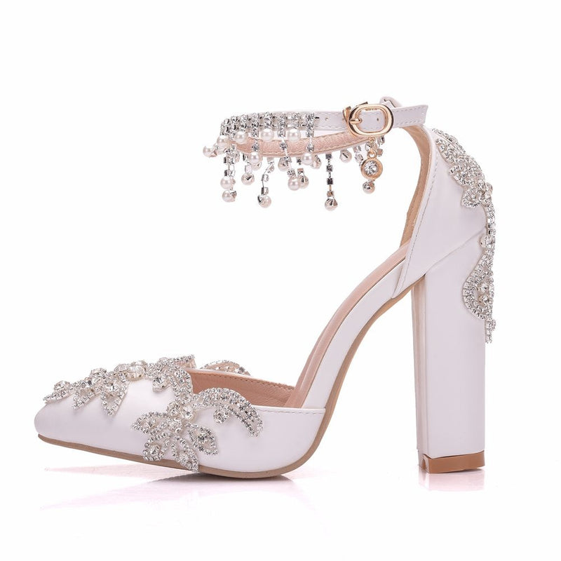 Bride Crystal Pumps Luxury Square Heel Shoes - Jance Samantha Beauty & Fashion
