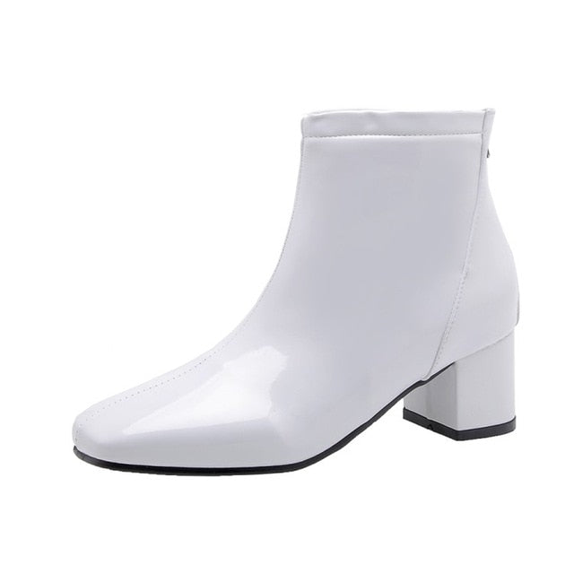 Square Med Heels Ankle Boots - Jance Samantha Beauty & Fashion
