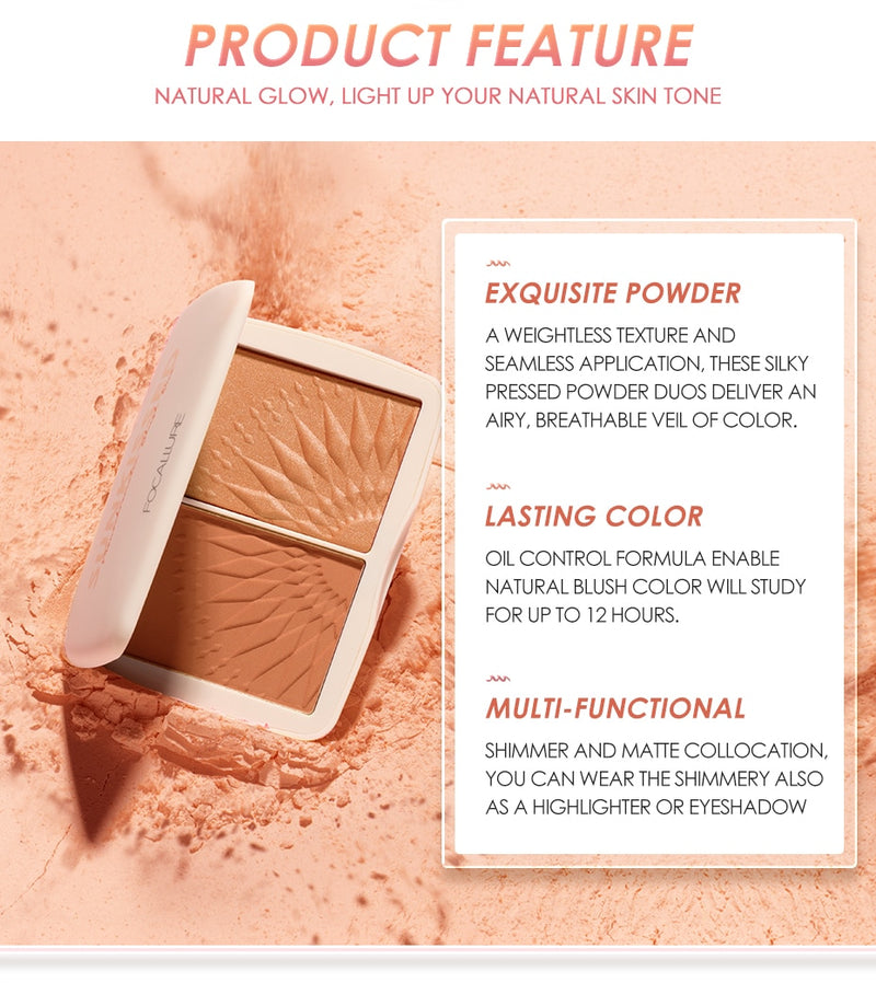 Smooth Pigmented Without Talc Natural Matte Blush Powder Bronzer Palette - Jance Samantha Beauty & Fashion