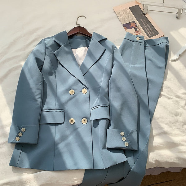 Chic Blue Double-breasted Jacket & Pencil Pant Suit Set - Jance Samantha Beauty & Fashion