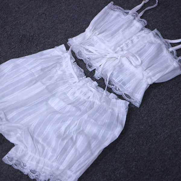 Soft Fashion Shirts Shorts Sleeveless Lace Underwear - Jance Samantha Beauty & Fashion