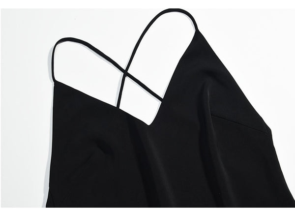 Elegant Black Long Camisole Slim  Sexy Cross Backless Slip Dress - Jance Samantha Beauty & Fashion
