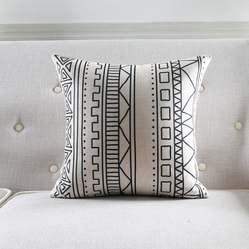 Dark Grey Aztect Abstract Geometric Printed Cushion Cover - Jance Samantha Beauty & Fashion