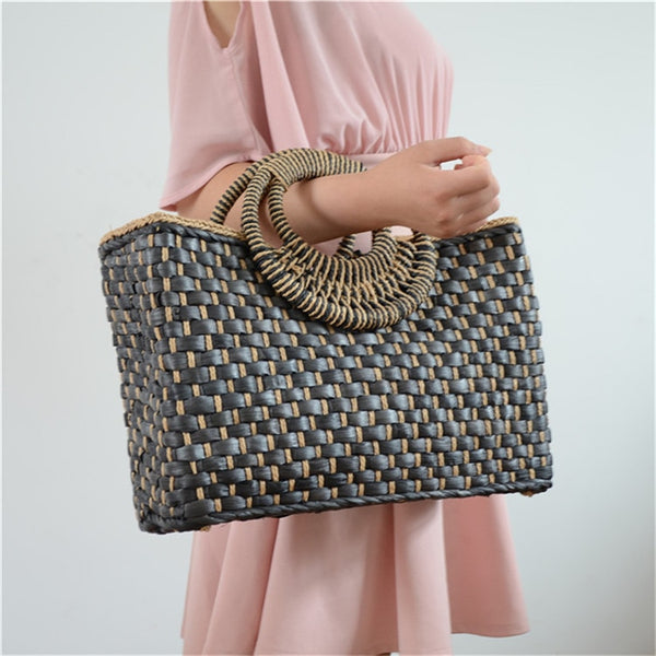 Bali Island Hand Corn Straw Woven Bag Butterfly Buckle Wind Bohemia Beach Bag - Jance Samantha Beauty & Fashion