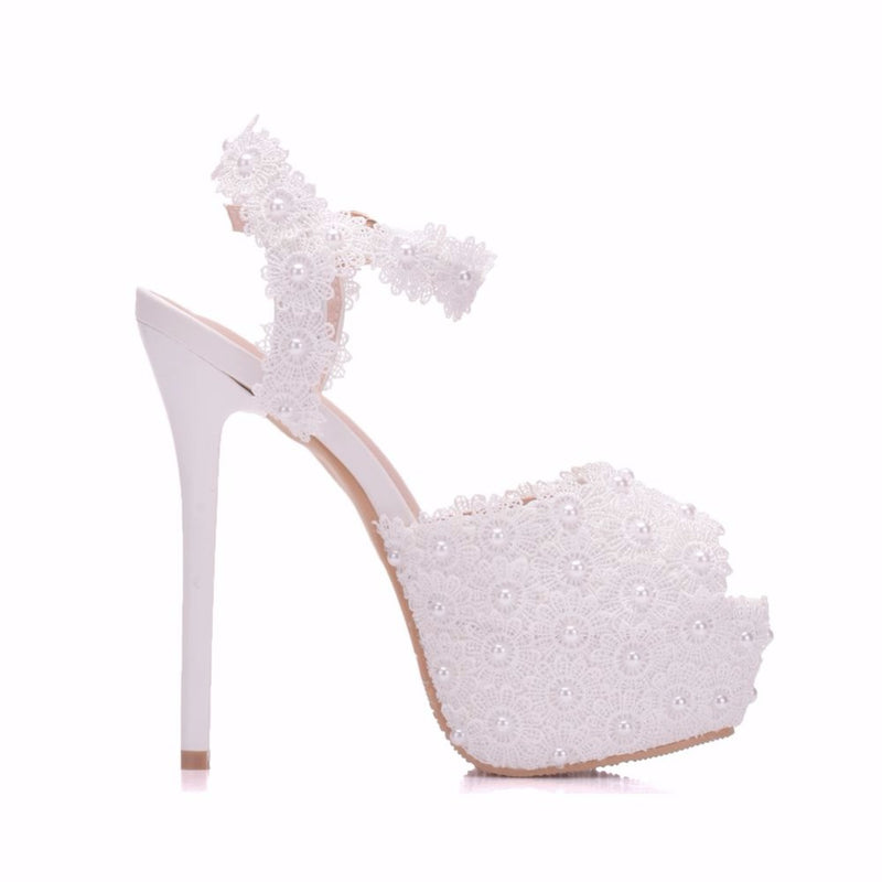 Sweet Peep Lady Lace Platform Flower Thin Heels - Jance Samantha Beauty & Fashion
