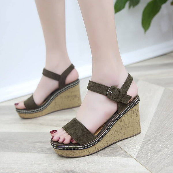 Peep Toe Buckle Platform Canvas Wedges - Jance Samantha Beauty & Fashion