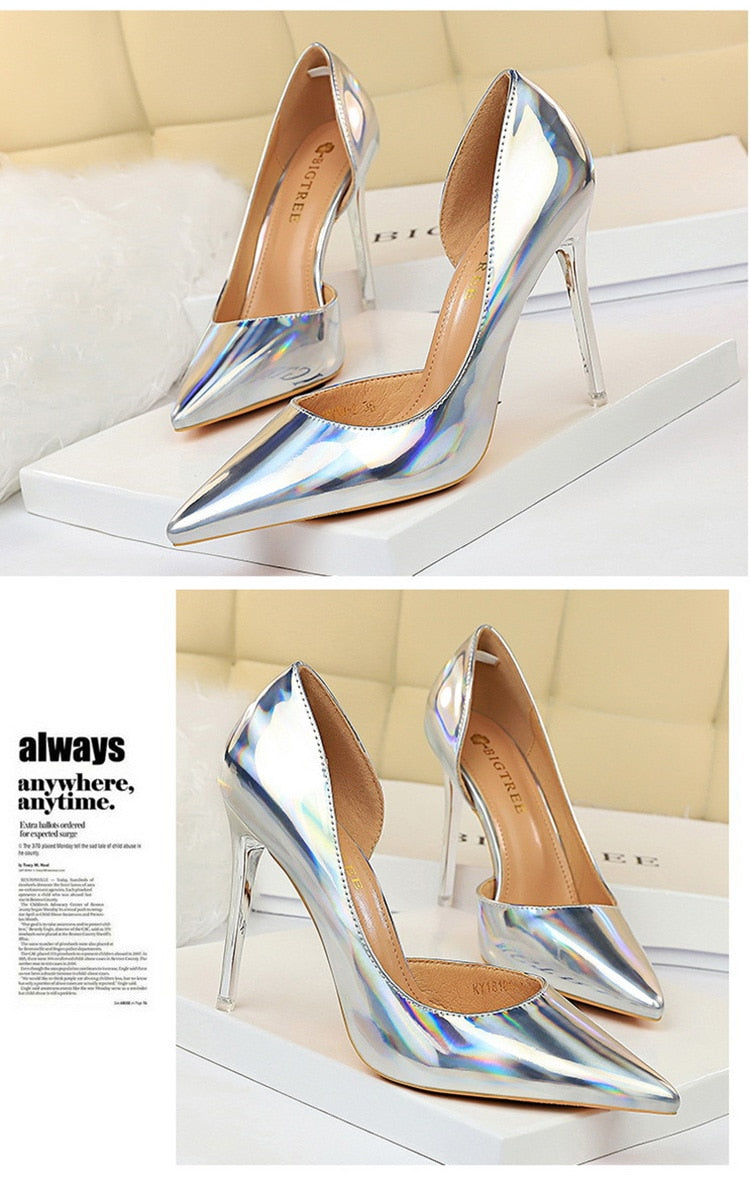 Shiny Champagne Stiletto - Jance Samantha Beauty & Fashion