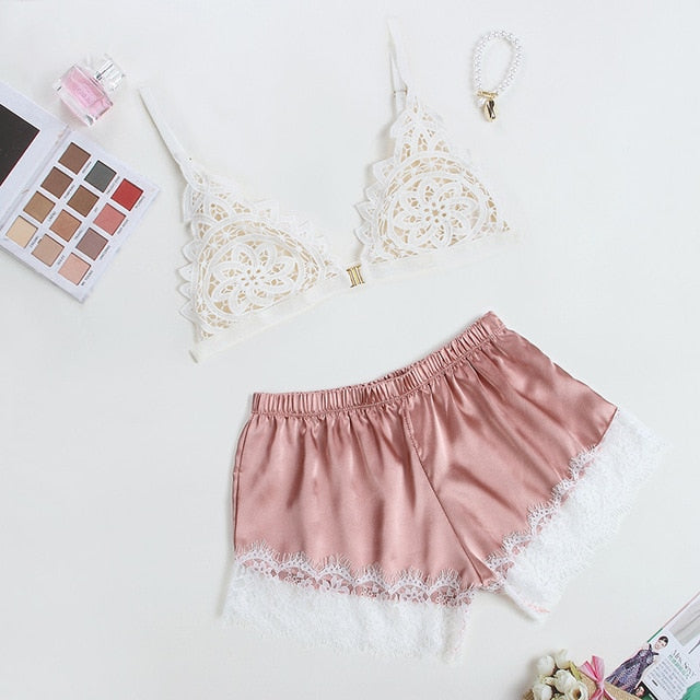 Silky Satin Thin Flower Bra Shorts Lingerie - Jance Samantha Beauty & Fashion