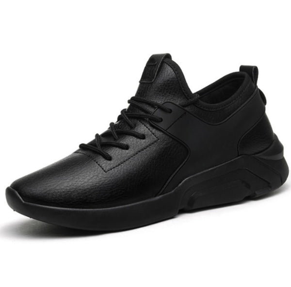 Men Casual Breathable Lace-Up Walking Footwear Comfortable Leather Sneakers - Jance Samantha Beauty & Fashion