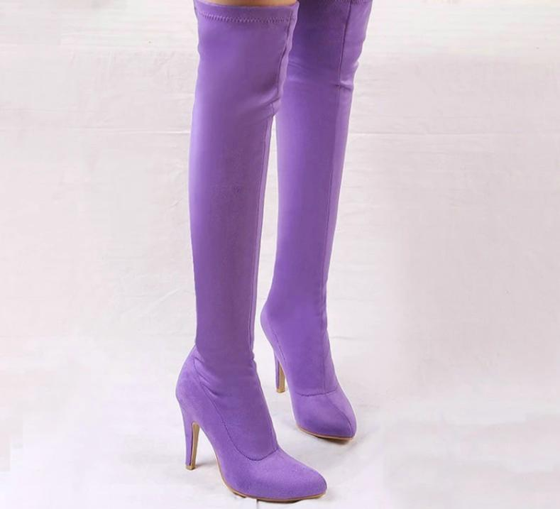 Colorful Thin High Heel Over the Knee Boots - Jance Samantha Beauty & Fashion