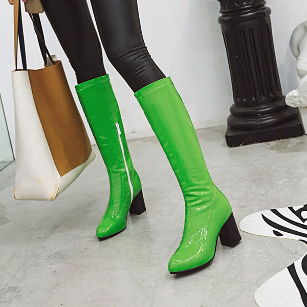 Patent PU Leather Shinny Block Knee High Stretchy Boots - Jance Samantha Beauty & Fashion