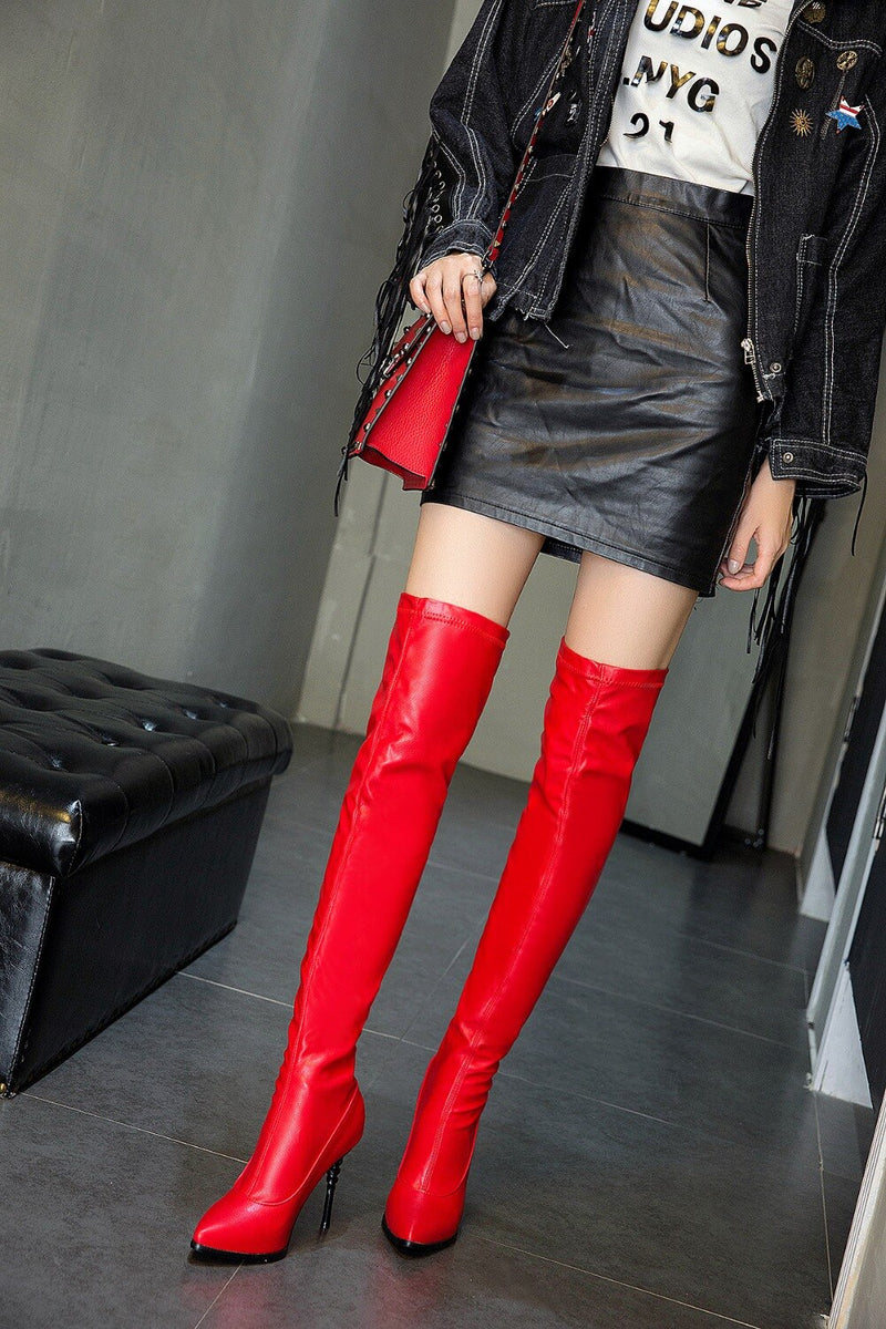 Slim Over the Knee Faux Suede Boots - Jance Samantha Beauty & Fashion