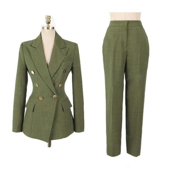Fashion Green Double-breasted Slim Jacket & Pencil Pant Suit - Jance Samantha Beauty & Fashion