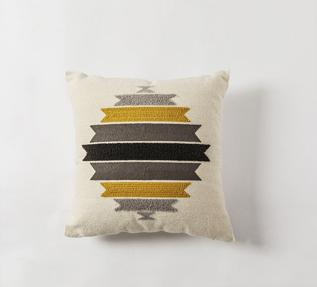 Embroidery Geometric Cotton Square  Pillow Cover - Jance Samantha Beauty & Fashion