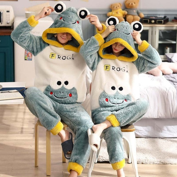 New Winter Couple Warm Thicken Cute Cartoon 2 Pieces Hooded Pajamas Set - Jance Samantha Beauty & Fashion