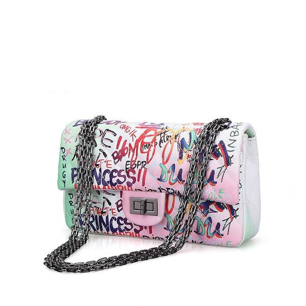High Quality Chain Pu Leather Graffiti Shoulder Bag - Jance Samantha Beauty & Fashion