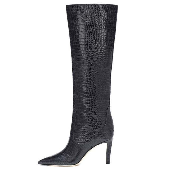 Thin Warm Motorcycle Boots Pointed Toe - Jance Samantha Beauty & Fashion, LLC