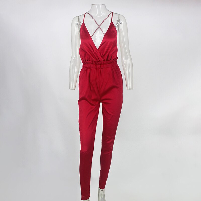 Ruffled Stain Jumpsuit - Jance Samantha Beauty & Fashion