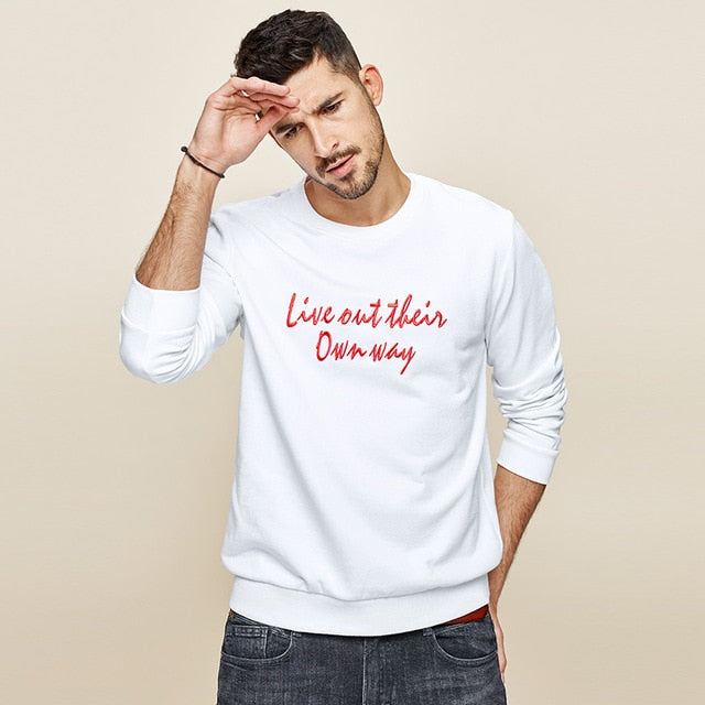 100% Cotton Embroidery White Blue Sweatshirt Men Fashion Japanese Streetwear - Jance Samantha Beauty & Fashion