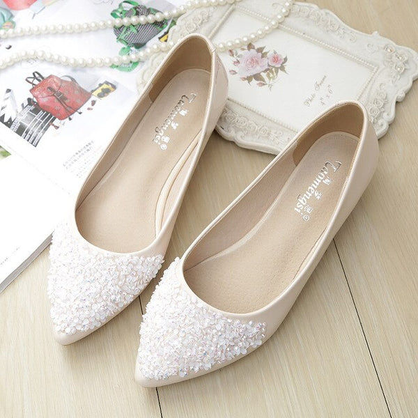 Ballet Leisure Spring Pointy Bling Rhinestone Flats - Jance Samantha Beauty & Fashion