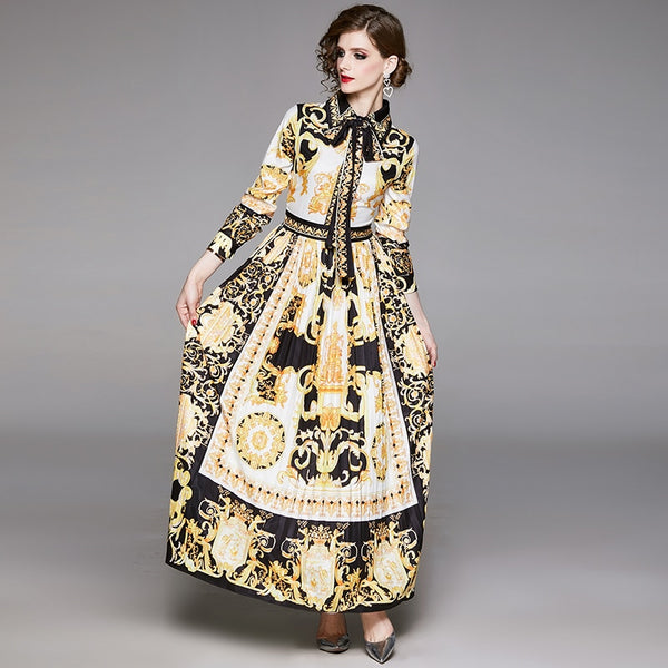 Vintage Baroque Floral Print Puff Sleeve Sashes Pleated Shirt Dress - Jance Samantha Beauty & Fashion