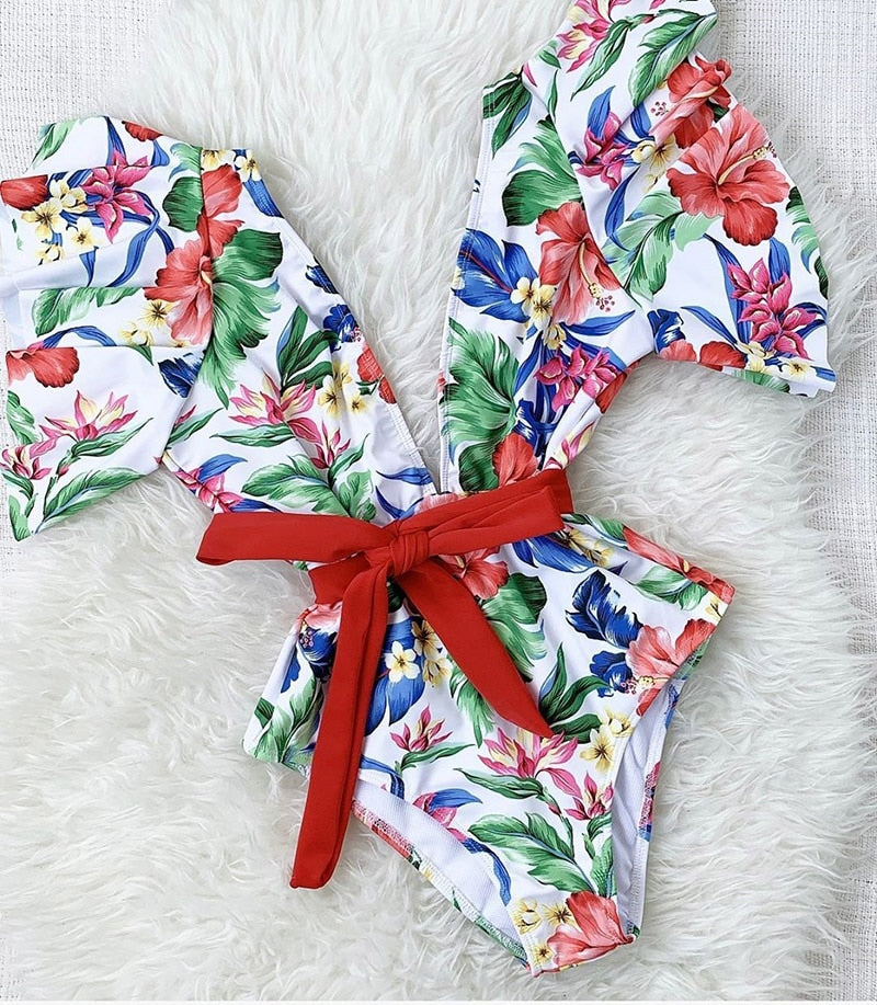 One Piece Floral Print Bodysuit Summer Beach Bathing Suit - Jance Samantha Beauty & Fashion