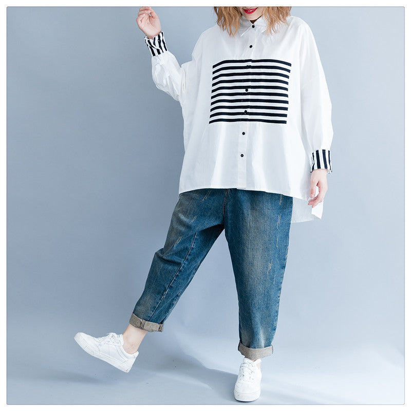 Print Striped Patchwork Casual Loose Plus Size Cardigan - Jance Samantha Beauty & Fashion