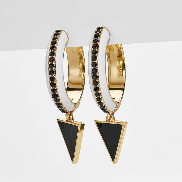 Fashion Jewelry Metal Enamel Hoop Earring - Jance Samantha Beauty & Fashion