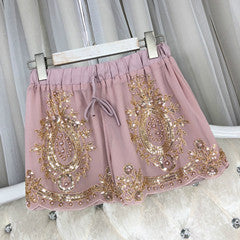 Cakucool Women Summer Chiffon Shorts Floral Beading Wide Leg Shorts Sequined Bling Vocation Shorts Capris Female - Jance Samantha Beauty & Fashion