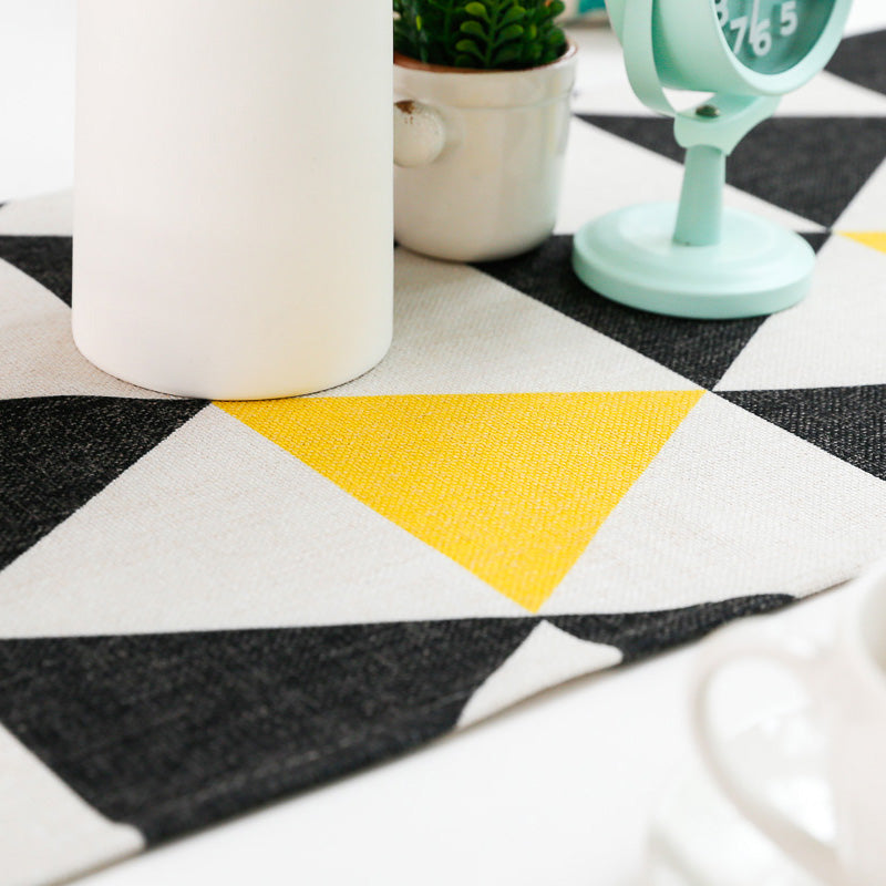 Fabric Modern Yellow Black Triangle Geometric Cotton Blend Mat Home Decoration - Jance Samantha Beauty & Fashion