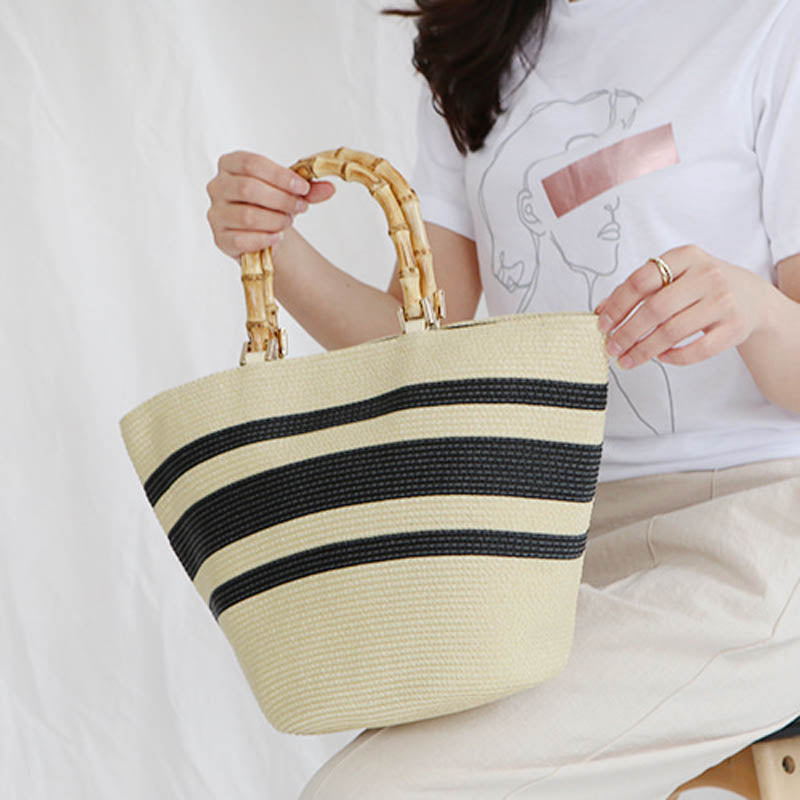 Fashion Casual Matching Striped Bamboo Handle Tote - Jance Samantha Beauty & Fashion